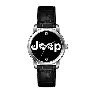 AMS Christmas Gift Watch Women's Vintage Design Leather Black Band Wrist Watch Jeep Wristwatches