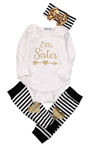 Newborn Baby Boy Girl Romper Tops + Headband+Leg Warmer 3PCS Outfits Set Clothes (6-9 Months)