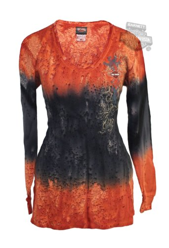 Harley-Davidson Womens Lava Dyed V-Neck Tie-Dyed Long Sleeve Thermal