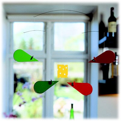 Flensted Mobiles Nursery Mobiles, Mouse Green, Orange