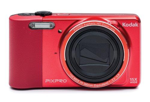 """Kodak Pixpro Friendly Zoom Fz151 Digital Camera, 16Mp, 15X Optical/6X Digital Zoom, 3"""" Lcd Display, Hd 720P Video, Av-Out/Usb 2.0, Red"""