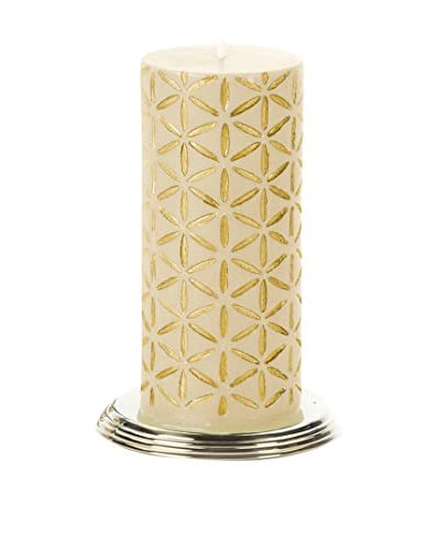 Et Al Designs Ivory Pillar Candle with Golden Floral Design