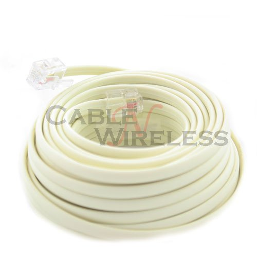 Cable N Wireless Beige 25 Feet Phone Line Cord Telephone Extension Cable Rj-11 Plug (Us Seller)