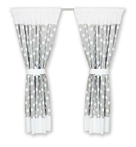 kinderzimmer vorh nge 155 x 155 cm set mit schlaufen baby gardinen vorhang a1 wei. Black Bedroom Furniture Sets. Home Design Ideas
