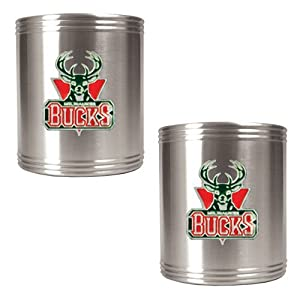 Milwaukee Bucks NBA 2pc Stainless Steel Can Holder Set - Primary Logo by Great American Products