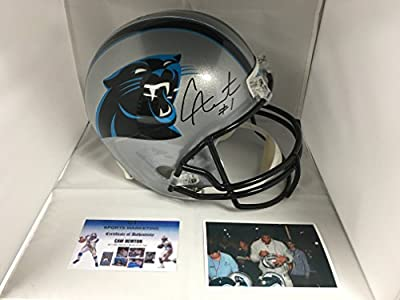 Cam Newton Signed Autographed Carolina Panthers Full Size Helmet GTSM Personal Player Hologram & COA W/Photo From Signing