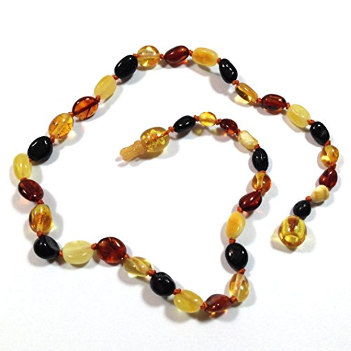 "Hazelaid (TM) 12"" Pop-Clasp Baltic Amber Multicolored Bean Necklace - 1"