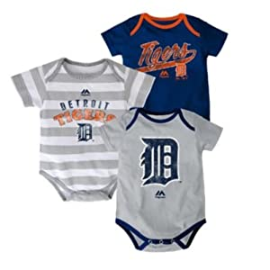 Detroit Tigers Baby Infant Triple Play 3 Piece Creeper Set by Majestic