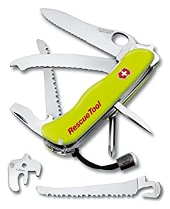 Victorinox - Couteau Suisse de Poche - 15 Pieces - Victorinox Rescue Tool - 0.8623.MWN - Jaune Fluo - Etui Nylon
