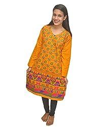 Baa Creation Women's Cotton A-Line Kurti (BAAKUT12_Orange_XX-Large)