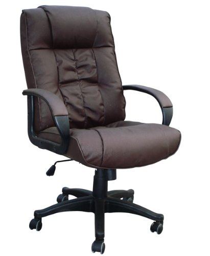 Padded Brown Leather Office Chair For Home Or Office - Executive Computer Pc Seat