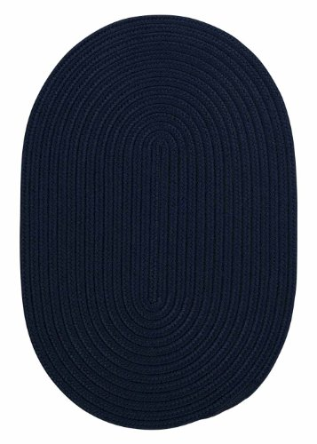 Indoor/Outdoor American Made Textured Rug 4-Feet by 4-Feet Round Navy Carpet