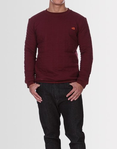 Kear and Ku Mens Quilted Continental Burgundy Sweatshirt : Burgundy - Xl