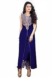 Sky Up Women's Georgette Embroidered Blue Salwar Suit