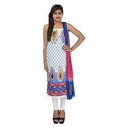 Kashish Creations Women Self Print White & Blue Semi Stitched Salwar Suit Combo Set