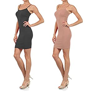 Yelete Womens 2 Pack Nylon Cami Slip Dresses (Charcoal & Camel, One Size) by Yelete