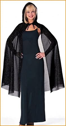 Black Hooded Glitter Halloween Capes