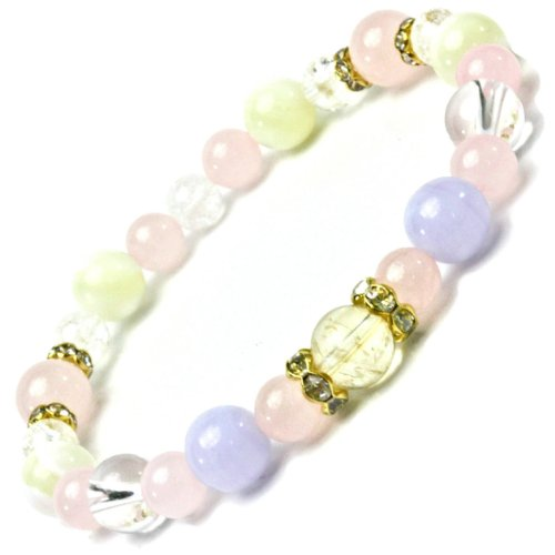 Happy power stone natural stone bracelet citrine & blue racing & mother-of-Pearl & Rose Quartz 8&6 mm ball ladies in periodontal size approx. 17 cm female M to L size