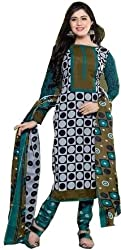 Exquisite & Beyond Womens Pure Cotton Printed Unstitched Salwar Suit _KT-01_Green