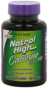 Natrol High Caffeine 200mg Tablets, 100-Count