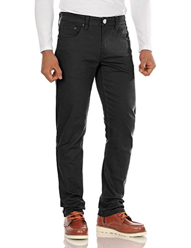 Doublju Mens Colorful Flat Front Comfortable Straight Leg Skinny Pants BLACK,34/32