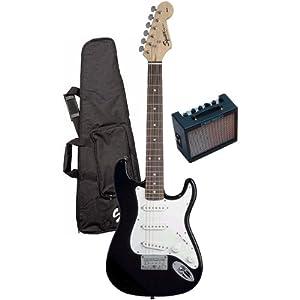 fender squier children 39 s electric guitar package black musical instruments. Black Bedroom Furniture Sets. Home Design Ideas