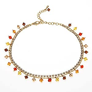Sunset Multi-Colored Faceted Swarovski Crystal with Cubic Zirconia CZ on Micron Gold Plated Brass Anklet Bracelet 8.5''-10.5''