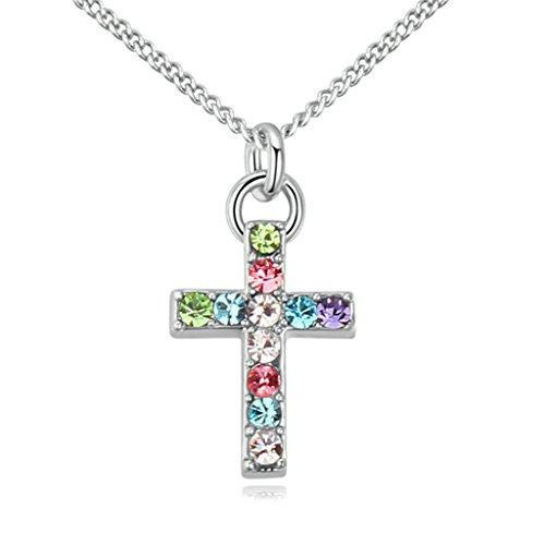 AMDXD-Bijoux-Plaqu-Or-Femme-Collier-Pendentif-Croix-Conception-avec-CZComme-Meilleur-Cadeau-Pour-Fille