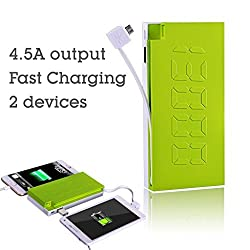 Avantree Force 13000mAh External Battery, Portable, 4.5 A Dual-Output Charger Power Bank with Built-In Micro USB Cable, Fast Charging, High Capacity for iPhone 6, 6 Plus, 5S, 5C, 5, 4S, iPad Air Mini (Apple 30pin and Lightning Cable Not Included), Galaxy S5, S4, S3, Note 4, 3 and 2, Tab 4, 3 and 2 Pro, Nexus, HTC One, One 2 (M8), LG G3, Nexus, MOTO X and More