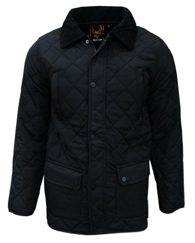 Boston Men's Classic Diamond Quilted Padded Fashion Jacket Coat black Medium