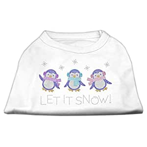 Mirage Pet Products 14-Inch Let it Snow Penguins Rhinestone Print Shirt for Pets, Large, White