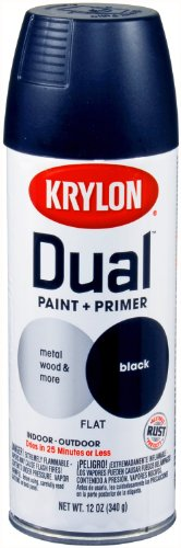 Krylon 8831 'Dual' Flat Black Paint and Primer - 12 oz. Aerosol