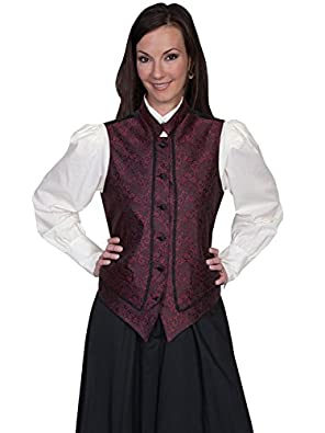Scully Band Collar Vest - Red  AT vintagedancer.com