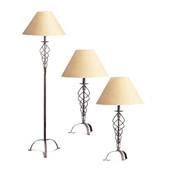 combo pack 2 table lamp 1 floor lamp rust table lamps amazon. Black Bedroom Furniture Sets. Home Design Ideas