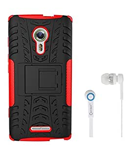 Chevron Tough Hybrid Armor Back Cover Case with Kickstand for Alcatel Flash 2 With Chevron 3.5mm Red Stereo Earphones (Red)