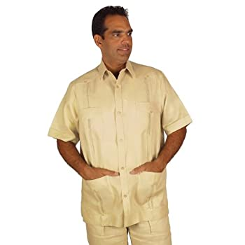 Linen guayabera for men short sleeve in natural.
