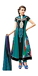 Jinaam Dress Women Georgette Dress Material (Jd-6341A _Blue & Black _34)