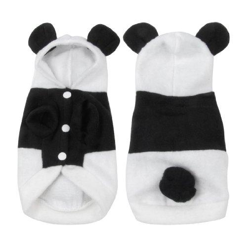 Single Breasted Panda Design Hoodie Yorkie Pet Dog Coat White Black Size Xs front-843038