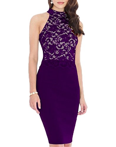 WOOSEA® Women's Elegant Sleeveless Floral Lace Vintage Midi Cocktail Party Dress (Small, Purple)