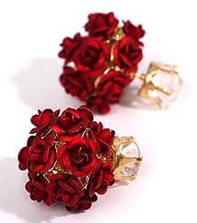 YouBella Jewellery Rose Shape Two Sided Fancy Party Wear Earrings for Girls and Women (Red)