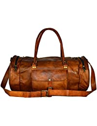 Pranjals House Vintage Handcrafted Leather Duffle Bag 22 Inches Overnight Bag Weekend Bag Leather Gym Sports Bag