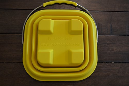 Packable Pails Collapsible Silicone Beach Pail & Shovel - Steel Handle (Yellow)