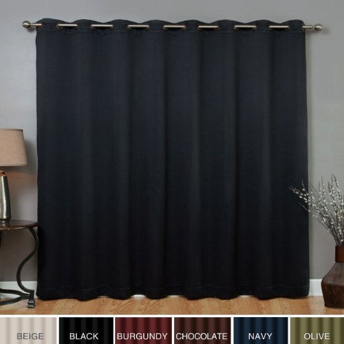 "Wide Width Grommet Top Thermal Blackout Curtain 100""W X 84""L Panel - Black - BWW"