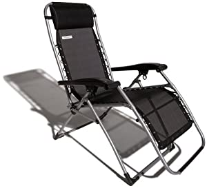 Strathwood Basics Anti-Gravity Adjustable Recliner Chair, Black with Silver Frame