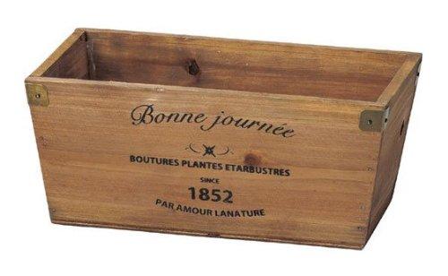 GREEN HOUSE Logo wood planter BR (ブラウン) (215×120×95mm) 3077-C
