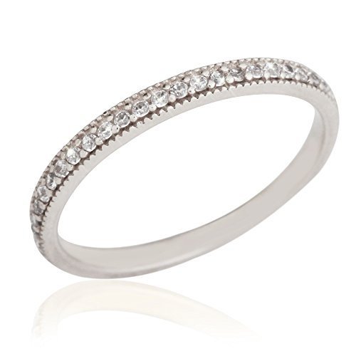 RISAcrystal(リサクリスタル) Infini アンフィニ ハーフ エタニティ リング 指輪  K14 14金 ホワイトゴールド【7号】