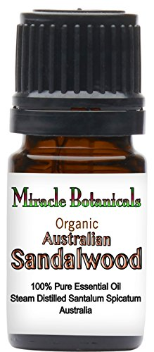 Miracle Botanicals Organic Australian Sandalwood Essential Oil - 100% Pure Santalum Spicatum - 5ml, 10ml, and 30ml Sizes - Therapeutic Grade - 5ml