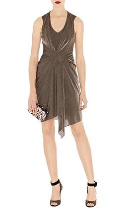 Draped Metallic Jersey Dress