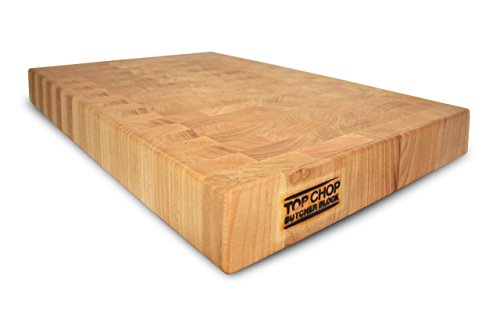 Top Chop Butcher Block Premium Reversible End Grain Cutting Board, Cherry, 24