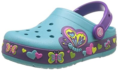 Crocs CrocsLights Butterfly, Girls' Clogs, Blue (Aqua/Neon Purple), 8 UK Child